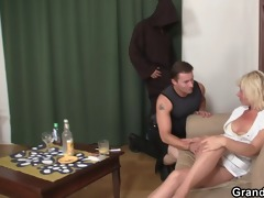 mature widow enjoys two recent juvenile cocks