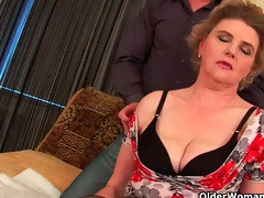 busty grandma in nylons receives her hairy