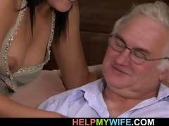 old dude watches his wife fucked