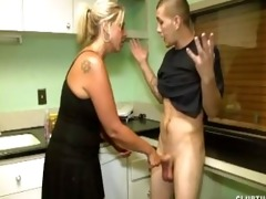dominant d like to fuck handjob in the kitchen
