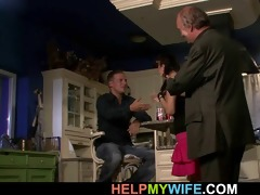 old hubby watches a boy bangs his young wife