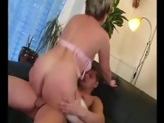 horny mature gets some cock on the couch
