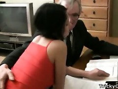 beautiful youthful student tempted by an old fart