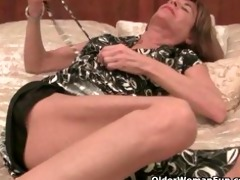 very skinny granny undresses off and masturbates