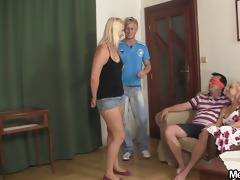 his cute blond angel involved into taboo 3some