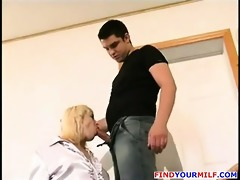 older russian teacher with hairy pussy suck dong