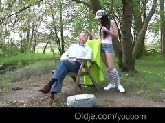 party gal nataly meets an old guy in the woods