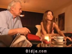 young girl sucks the old dick