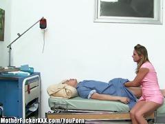lascivious blonde cougar nurse screwed by patient