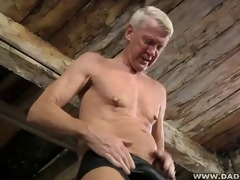 hung dad loves pain as he is jerks off