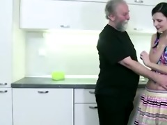 horny slim beauty lets old man entice her, then