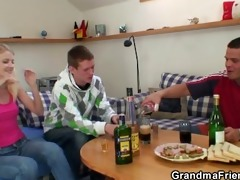 partying chaps pound grandma from both ends