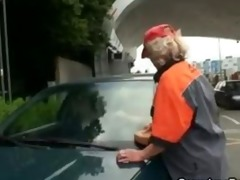 two dudes pick up old wench and screw her hard