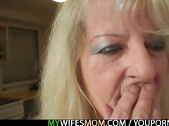 blond granny rides his big knob