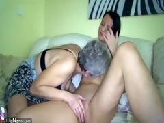 lesbo granny and good woman masturbating