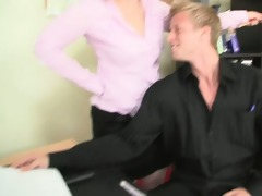 office floozy enjoys riding his penis
