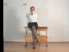 teacher stocking tease