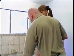 old lad copulates young girl in washroom