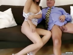 old stud plays with young snatch