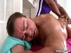 muscled dad s garb as muscular masseur strokes