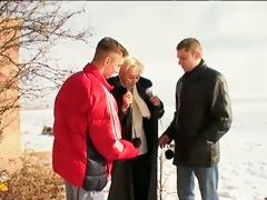 irina with guys on the snow