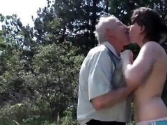 old grandpa fucks young doxy outdoor