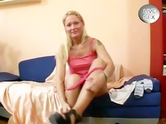 old euro broad plays with dildo