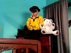 teen sabrina plays with a large doll