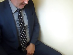 excited executive daddy at work needs to relieve