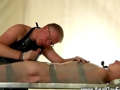 homosexual fuck strapped down and at the grace of