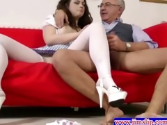 pretty brunette riding old chap