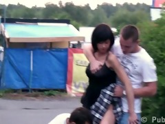 young 18 year old girl in public three-some in