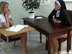 sister tay licks student feet