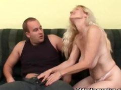 older mamma with big bra buddies and bushy slit
