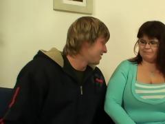 busty plumper widens her legs for a stranger