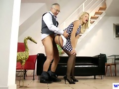young euro wench plays with old mans dick