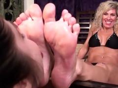 youthful girls lick mature womans feet