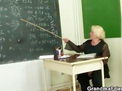 two men fuck granny teacher
