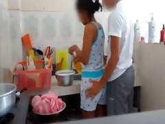 real brother foreplay with stepsister at kitchen