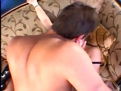 fat daddy bows a bitch in latex boots