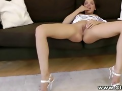 dark brown babe getting vagina fingered and loves