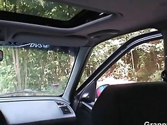 old floozy acquires nailed in the car by a