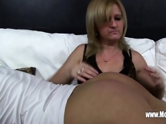 mature maid fucks son on sofa after catching him