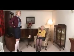 domme granny spanks cutie over her knee