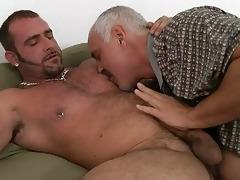 mature homo daddy and tattooed hunk having