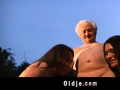 grandad gustavo bangs with two wicked babes