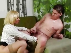 older blond pussy rub and sucks younger chap