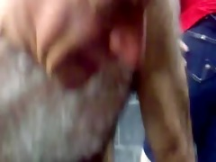 silver bushy daddy show his chest