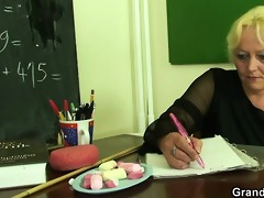 mature teacher is screwed by two horny chaps