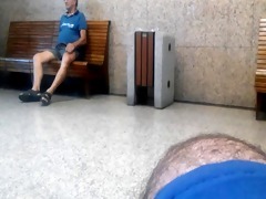 older dad grabs and show me his cock in rail